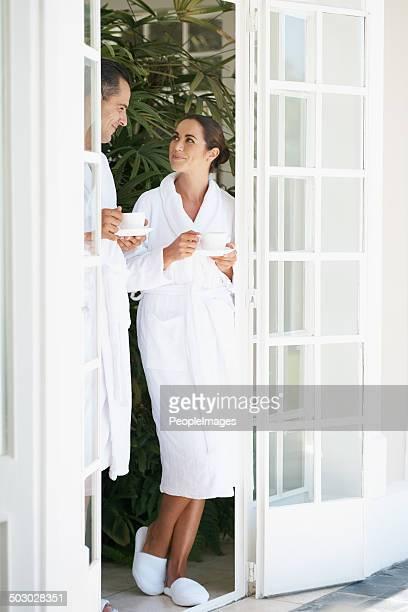 Taking a quick tea break between spa treatments