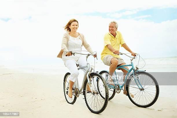 Taking a relaxing beach bike ride