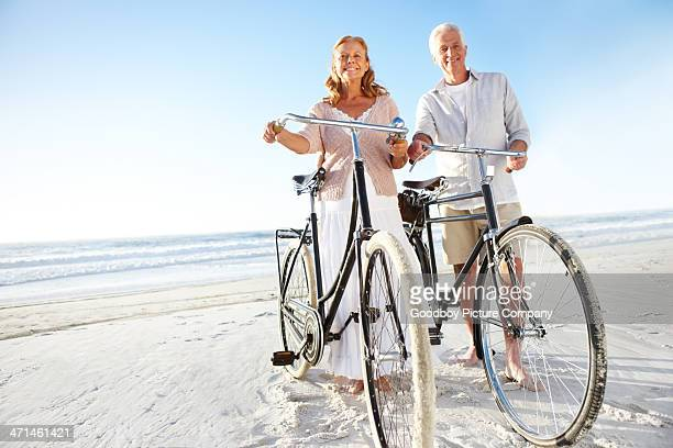 Taking a seaside bicycle ride