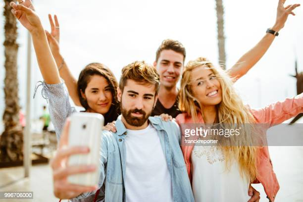 taking a selfie all together in the city