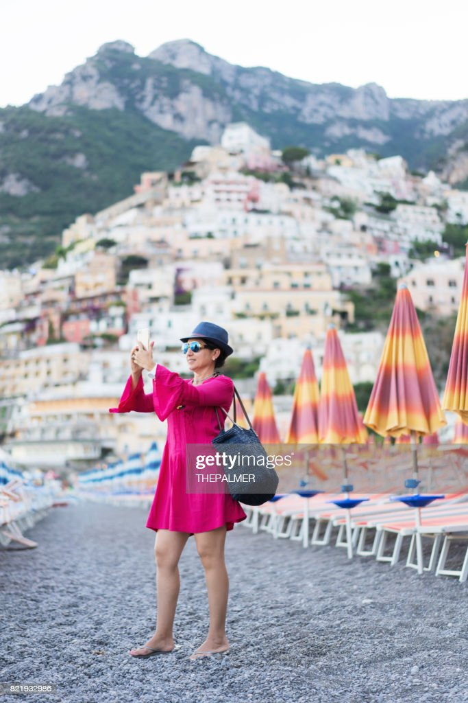 Taking a selfie in Amalfi coast : Stock Photo