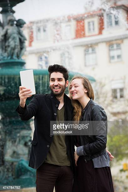 Taking a selfie on a European vacation