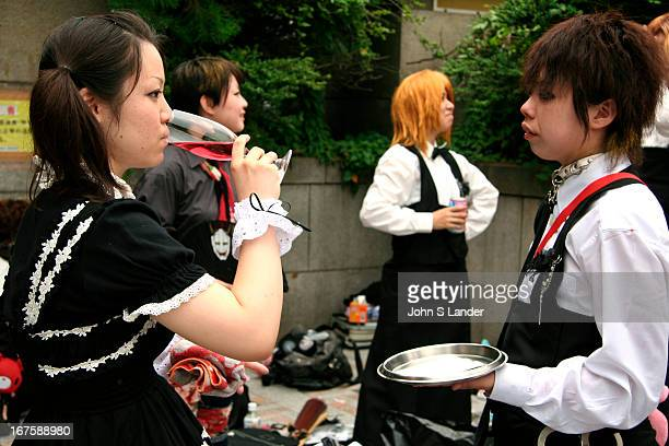 Taking a wine break after a long day of dressing up 'Cosplay' or costume play is a recent phenomenon in Japan It is said that it began with the...