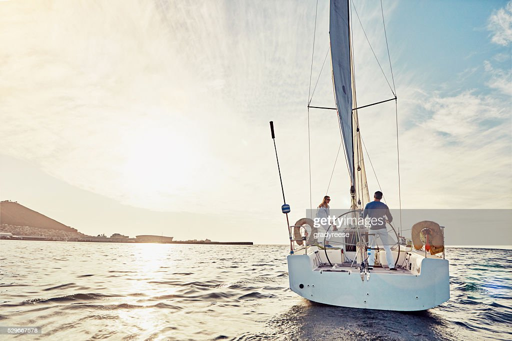Taking an adventurous boat cruise : Stock Photo