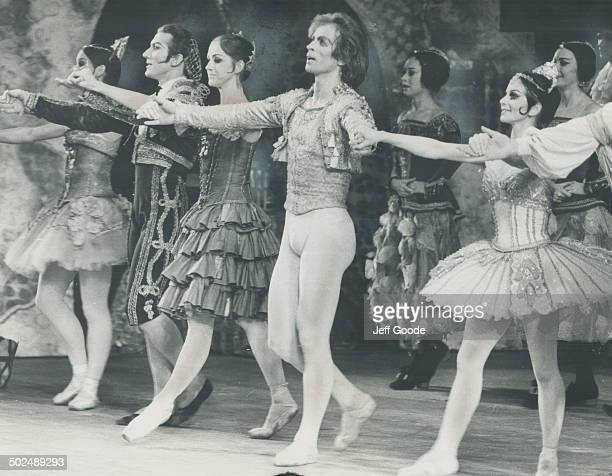 Taking Bows after performance of Don Quixote at O'Keefe Centre last night are Rudolf Nureyev and Lucette Aldous and cast member of the Australian...