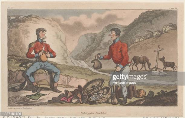 "Taking his Breakfast, from ""The Military Adventures of Johnny Newcome"", 1815. Artist Thomas Rowlandson."