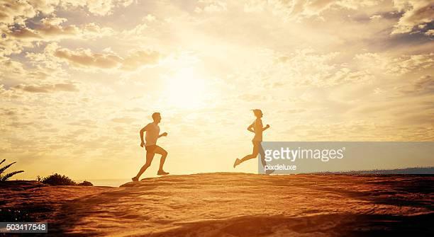 Taking in a sunset run