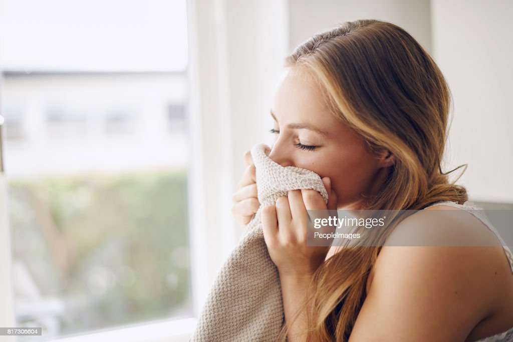 Taking in that fresh laundry scent : Stock Photo