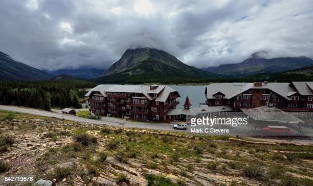Taking in the Many Glacier Hotel and Mountains