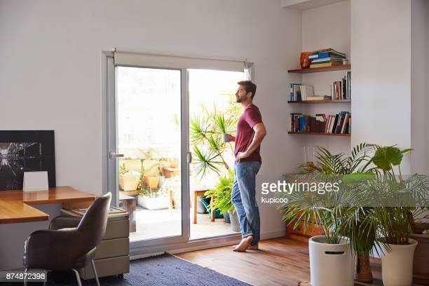 taking in the morning view - sliding door stock pictures, royalty-free photos & images