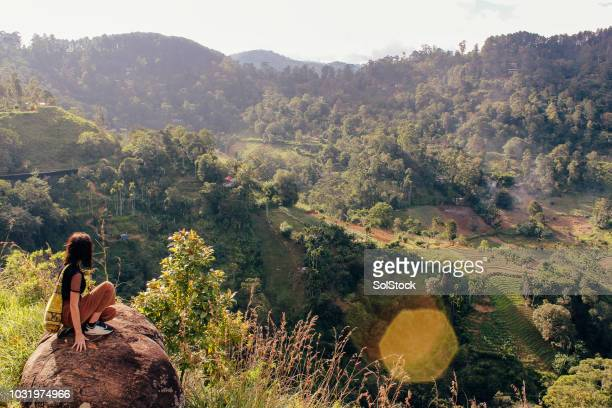 taking in the view of ella, sri lanka - sri lanka stock pictures, royalty-free photos & images