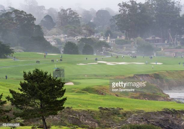 Taking in the view of the 3rd green and the 4th fairway during the second round of the AT&T Pebble Beach Pro-Am in Pebble Beach, CA on Friday,...