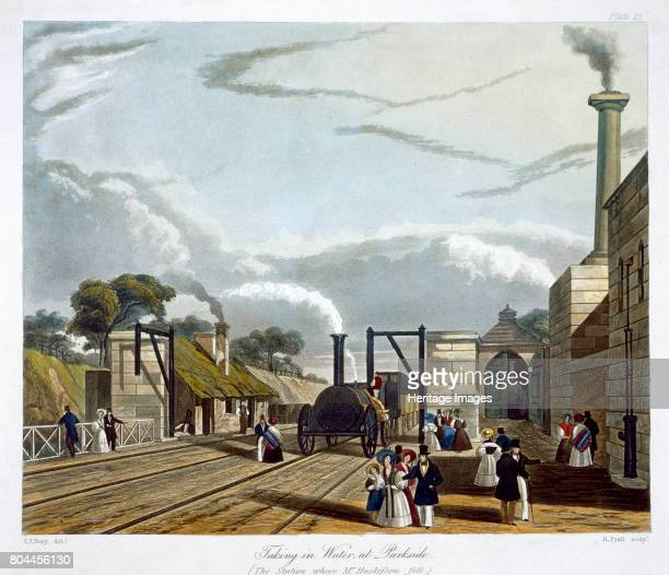 Taking in Water at Parkside' Liverpool and Manchester Railway 1833 The world's first intercity railway the Liverpool Manchester Railway opened on 15...