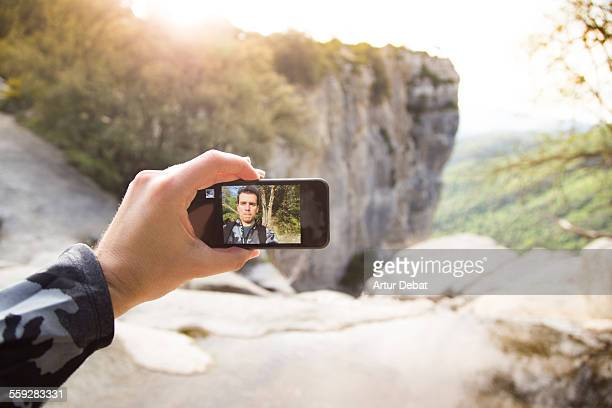 Taking myself a selfie on the nature cliffs