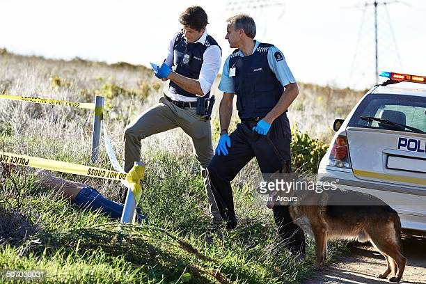 taking notes on the crimescene - more dead cops stock pictures, royalty-free photos & images