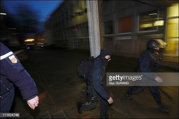 Taking of hostages in Colbert de Torcy High School in the GIGN in the Sarthe ends without violence in SablesurSarthe France on March 09th 2006