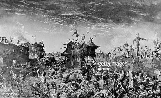 Taking of the Alamo during the Mexican War After a painting
