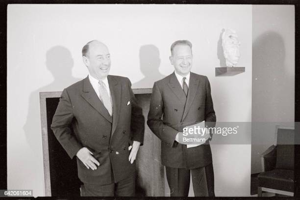 Taking over as American Ambassador to the United Nations Adlai Stevenson stands with the UN Secretary General Dag Hammarskjold They met to discuss...