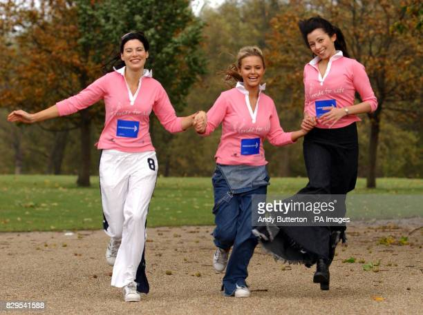 Taking part in the Stride For Life 10km Walk for Cancer Research UK Bond Girl Catherine McQueen Glamour Model Ebony and Bond Girl Rachel Grant at...