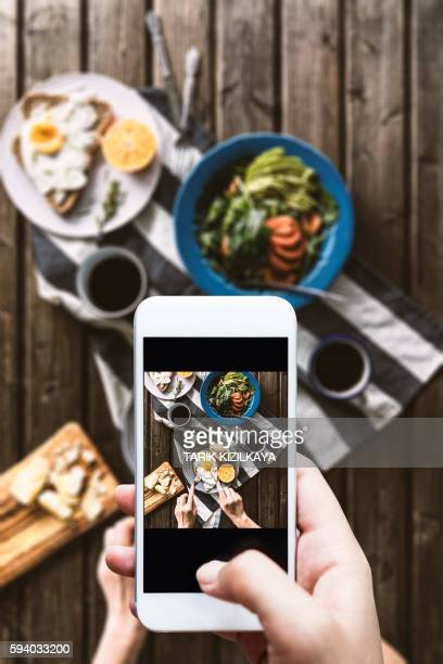 Taking photo of breakfast table
