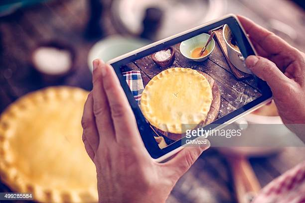 Taking Photo of Homemade Chicken Meat Pie
