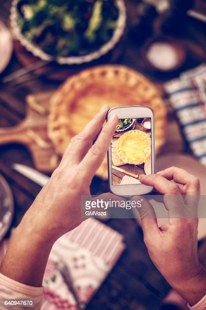 Taking Photo with Smartphone of Homemade Chicken Meat Pie
