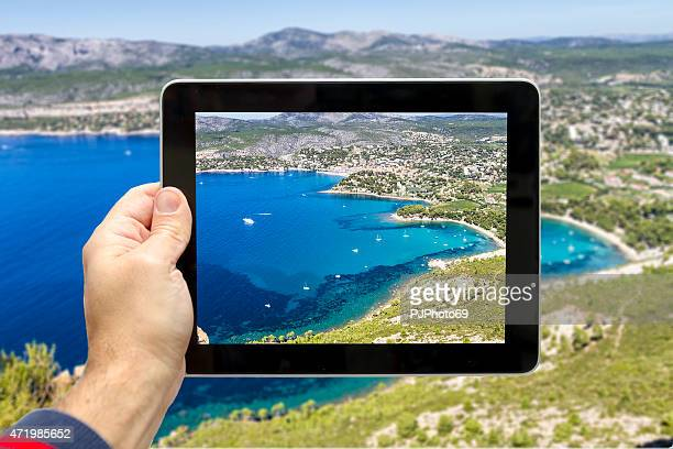Taking picture of Cassis and Calanque Coast