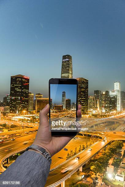 Taking pictures from personal point of view with smartphone of Beijing Central Business District
