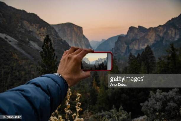taking pictures of the yosemite valley from tunnel view on sunset with el capitan wall. - american influencer stock photos and pictures