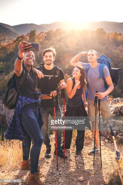 taking selfie for memories - outdoor pursuit stock pictures, royalty-free photos & images