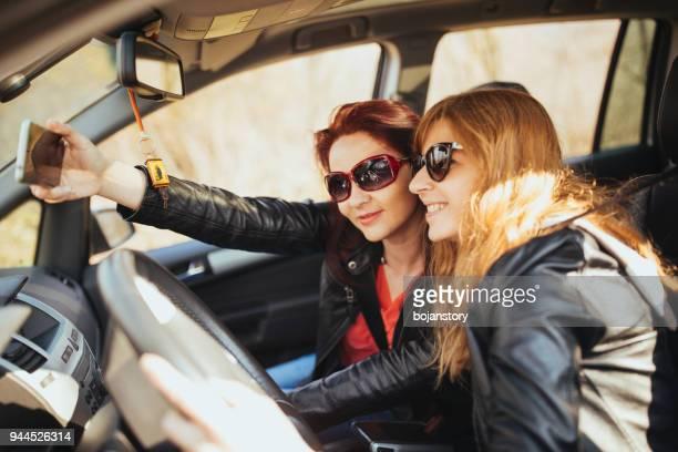 Taking selfie in car