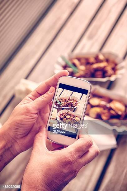 Selfie von köstlichen Currywurt-Curry-Wurst