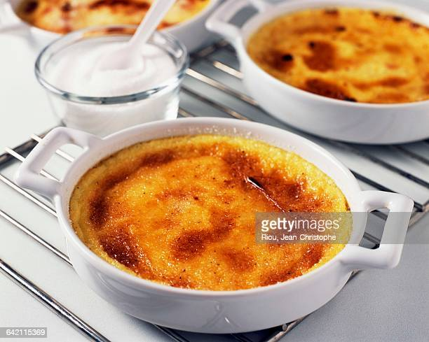 Taking the creme brule out of the oven
