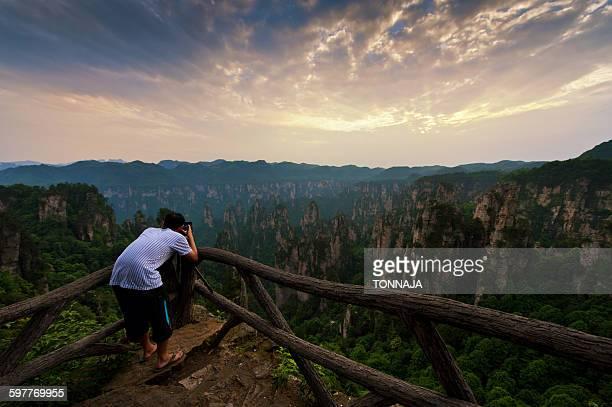 Taking the landscape photo of Zhangjiajie
