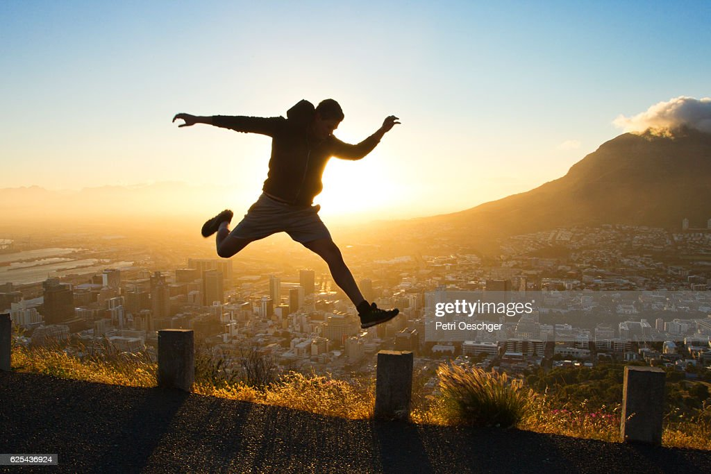 Taking the Leap. : Stock Photo