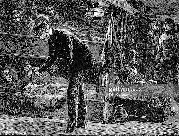 Taking the pulse of a sick Irish emigrant on board ship bound for North America during the potato famine of the 1840s c1890 Wood engraving