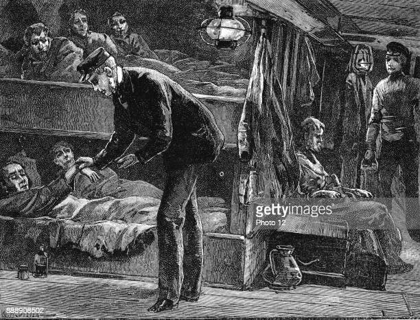 Taking the pulse of a sick Irish emigrant on board ship bound for North America during the potato famine of the 1840s Wood engraving c1890