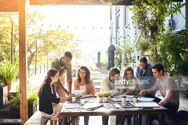 taking the team out for a casual meeting - outdoors stock pictures, royalty-free photos & images