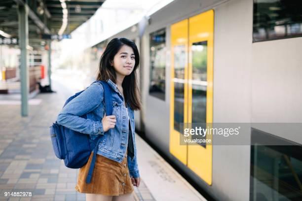 Taking the train in Sydney train station