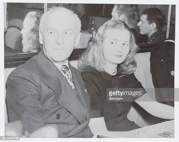 Taking time out from his newspaper and radio work is Walter Winchell pictured here with his daughter Walda enjoying a bit of leisure at the Stork Club