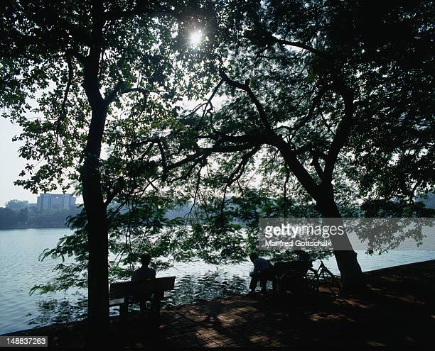 Taking time out to enjoy the serenity of Hoan Kiem Lake, Hanoi