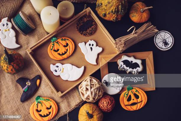 taking your halloween decorations out of the box - halloween stock pictures, royalty-free photos & images