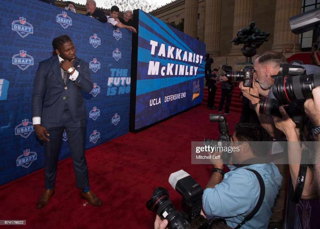 Takkarist McKinley of UCLA poses for a picture on the red carpet prior to the start of the 2017 NFL Draft on April 27, 2017 in Philadelphia, Pennsylvania.
