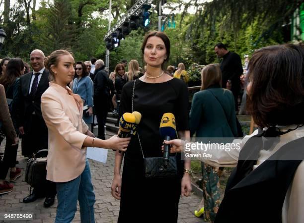 Tako Chkheidze Founder Creative Director at Tbilisi Fashion Week speaks to the press ahead of Tbilisi Fashion Week Day 1 on April 19 2018 in Tbilisi...