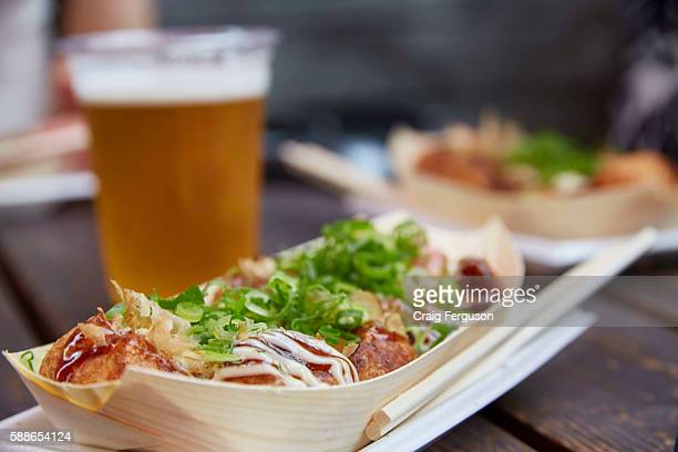Takoyaki are a batter made of wheat flour filled with octopus green onion pickled ginger and tempura scraps They are cooked in a special pan and...