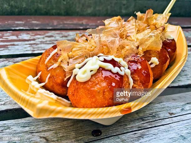 Takoyaki (octopus dumplings) close-up