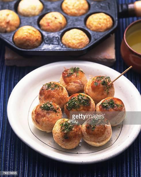 takoyaki, high angle view, differential focus - takoyaki stock pictures, royalty-free photos & images