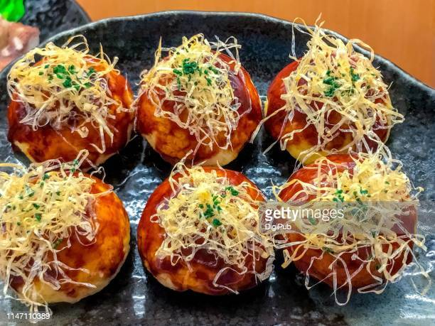 takoyaki like fried eggs, food model - takoyaki stock pictures, royalty-free photos & images