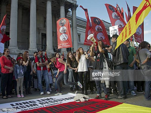 Taksim resistance demonstrators outside the National Gallery in London. The crowd of demonstrators consisted of young and old, determined by their...