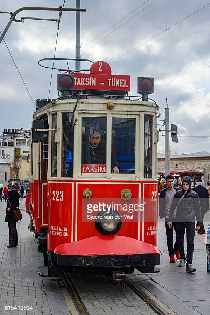 """taksim tunel tramway t2 at taksim square in istanbul turkey - """"sjoerd van der wal"""" stock pictures, royalty-free photos & images"""